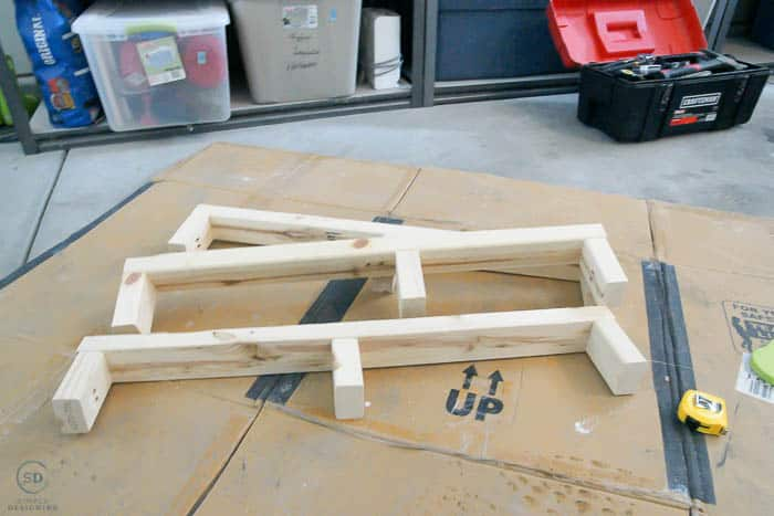 how to make floating shelves - the inside brackets ready to go