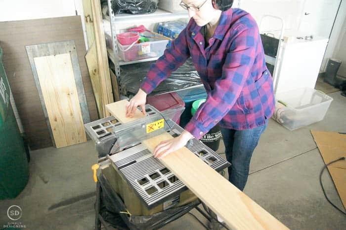 cut wood to make floating shelves