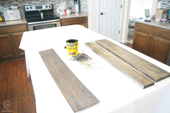 stain boards for diy floating shelves