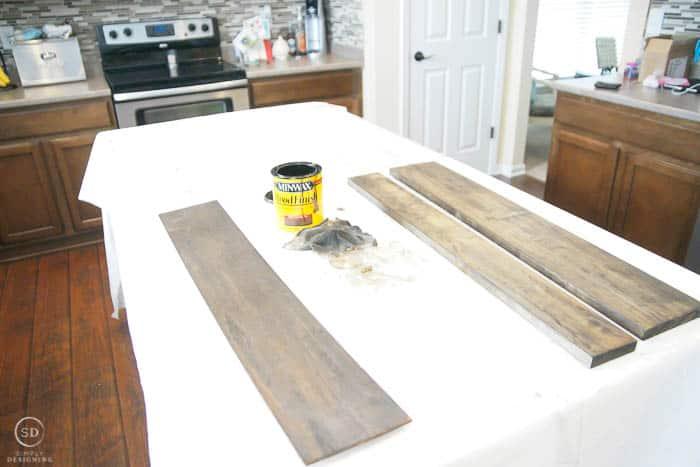 stain boards for diy floating shelves