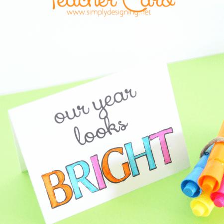 Colorable Teacher Card