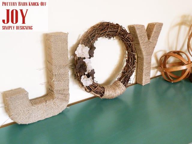 JOY {Pottery Barn Knock-Off Christmas Decor} #CraftersRAK #spon