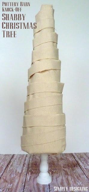 Shabby Fabric Christmas Tree {Pottery Barn Knock-Off}