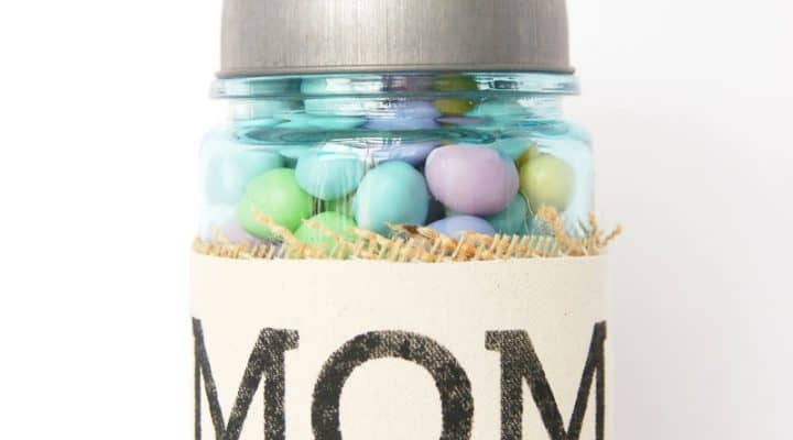 Simple Stenciled Mother's Day Treat Jar Gift