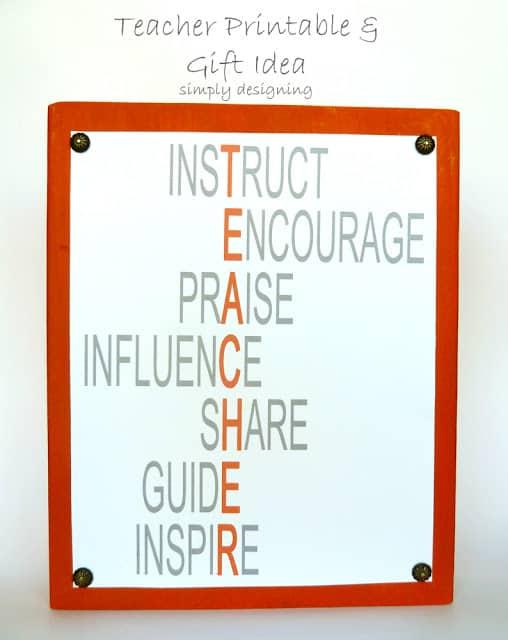 Teacher FREE Printable and Plaque Idea - perfect for teacher appreciation week! #teacher #teacherappreciation #teachergift #gift #free #craft