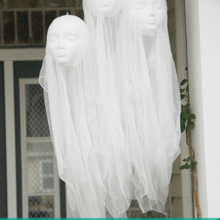 DIY Halloween Decorations | Floating Head Hanging Ghosts
