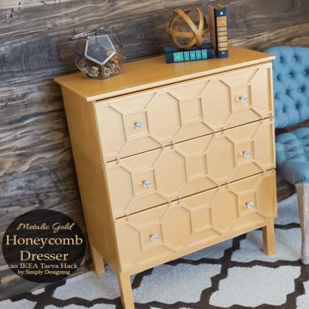 Ikea Hack: Metallic Gold Honeycomb Tarva Dresser