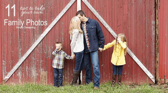 11 Tips to Take Your Own Family Photo main image with mom and dad kissing and kids covering their eyes