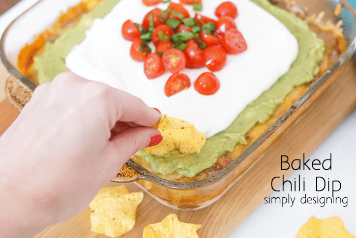 Delicious 7 Layer Baked Chili Dip