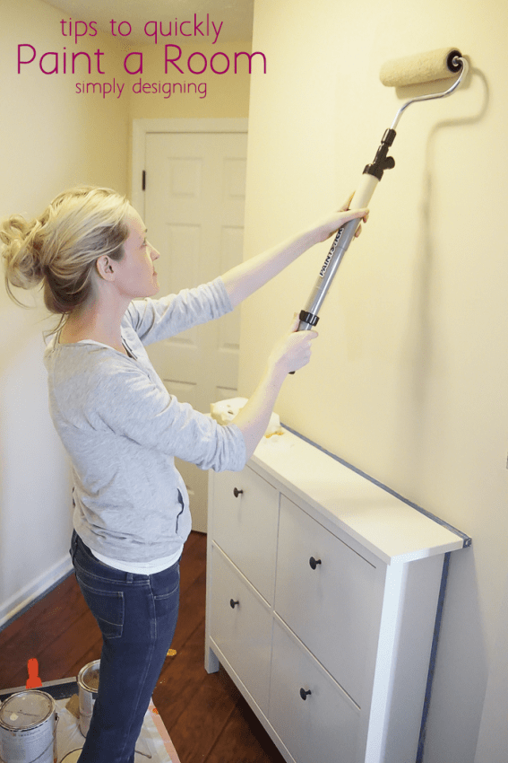 Painting a wall with the EZ-Twist PaintStick