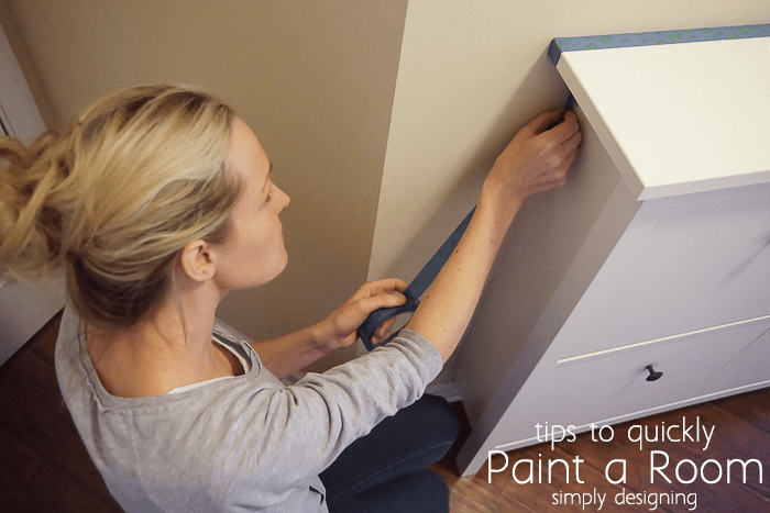 how to paint a room fast by prepping the room using painters tape