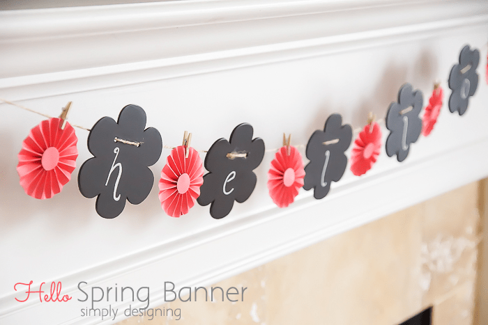 Hello Spring Garland with Rosettes and Chalkboard Flowers