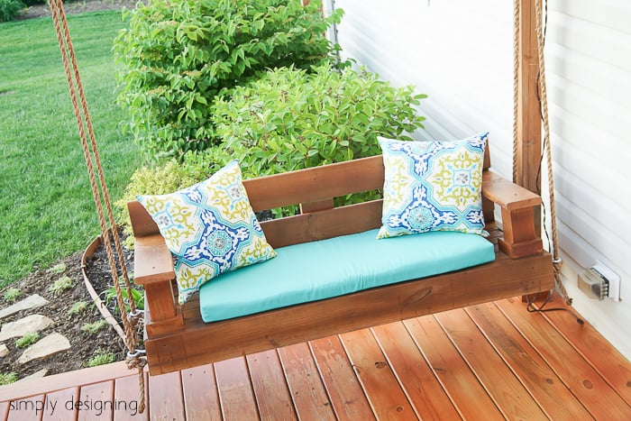 Porch swing building plans and supply list an easy for Easy porch swing