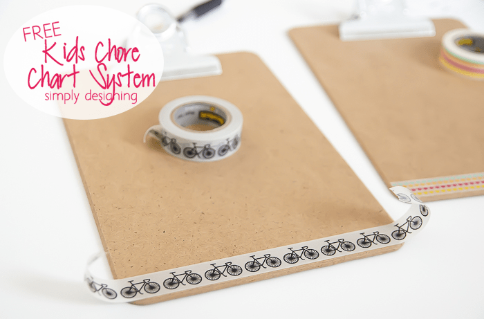 Clip Board decorated with Washi Tape to hold chore chart printable with chores for kids