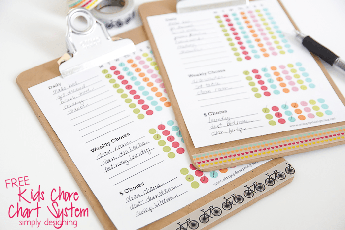 Kids Free Chore for kids Chore Chart Printable on a clipboard decorated with washi tape