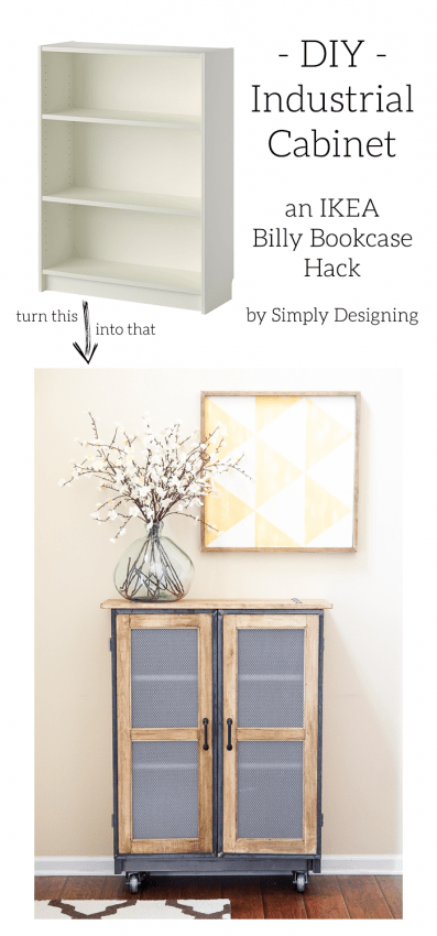 IKEA Billy Bookcase Hack into a beautiful Industrial Cabinet