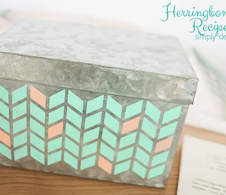 Herringbone Painted Recipe Box - featured image