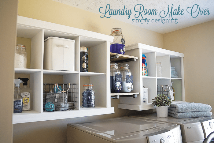 Laundry Room Make Over This Simple Hack Added So Much Storage And A Beautiful