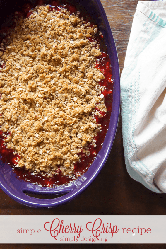 This simple Cherry Crisp Recipe is so simple to make but tastes amazing! It is perfect served with vanilla ice cream or whipped cream...or both! Yum!