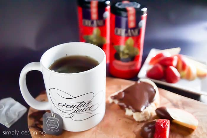 Nutella Recipes on strawberry and lady finger served with Peppermint Tea