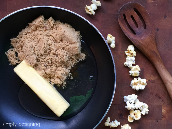 margarine, karo syrup and brown sugar in pot for easy caramel popcorn