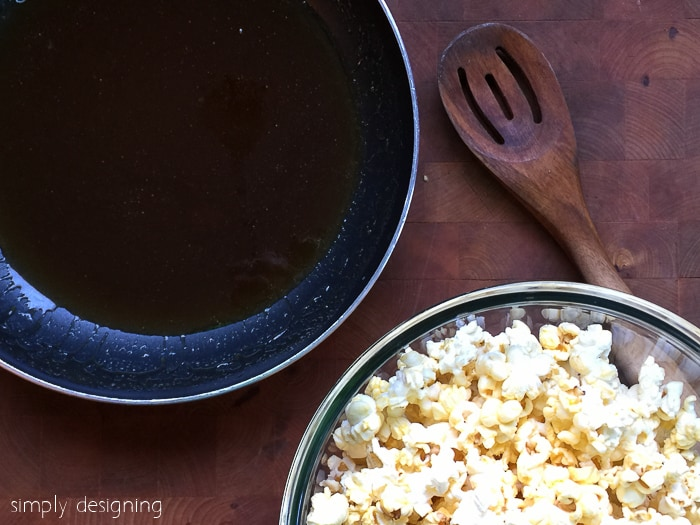 melted ingredients and popcorn for gooey caramel popcorn