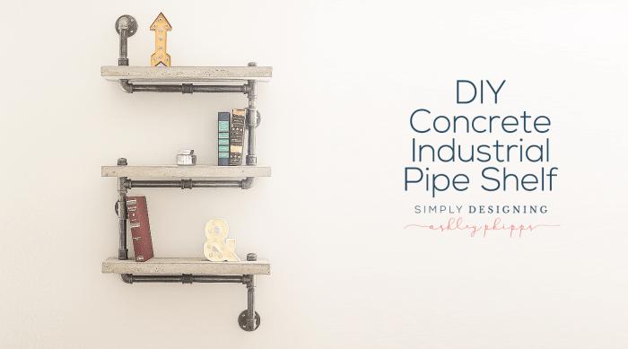 DIY Concrete Industrial Pipe Shelf