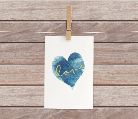 Free Gold Love Printable with Blue Watercolor Heart