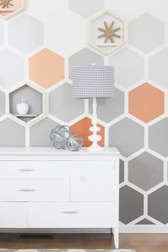 Before-and-after-geometric-hexagon-wall