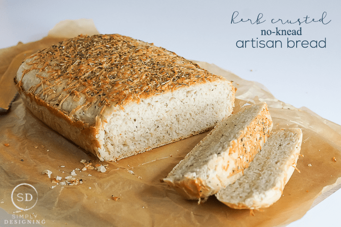 Herb Crusted No-Knead Artisan Bread Recipe - tastes just as good as bakery or restaurant bread with only 10 minutes of work