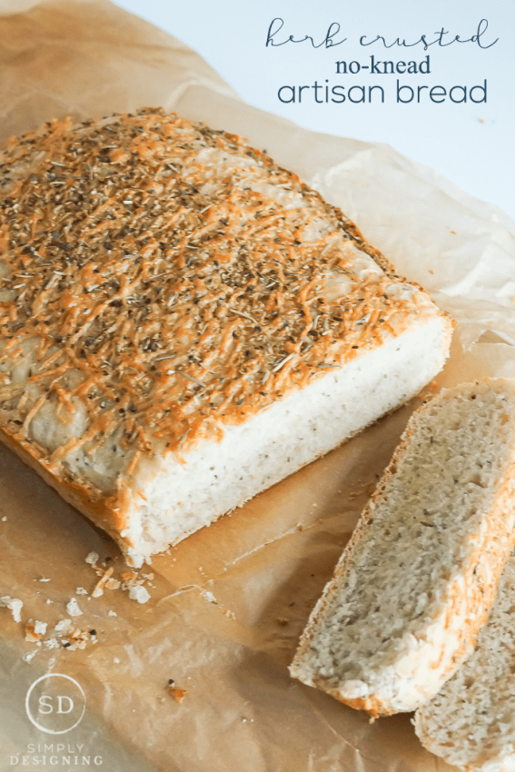 Herb Crusted No-Knead Artisan Bread Recipe - this bread required no kneading and only about 10 minuntes of hands on time