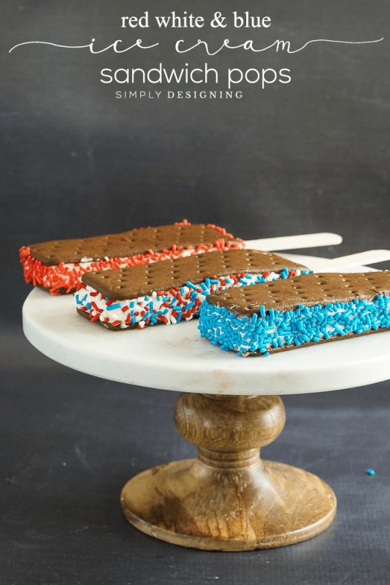 Patriotic Sprinkled Ice Cream Sandwich Pops