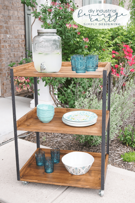 DIY Industrial Beverage Cart - this outdoor beverage cart is simple to make and perfectly industrial and rustic