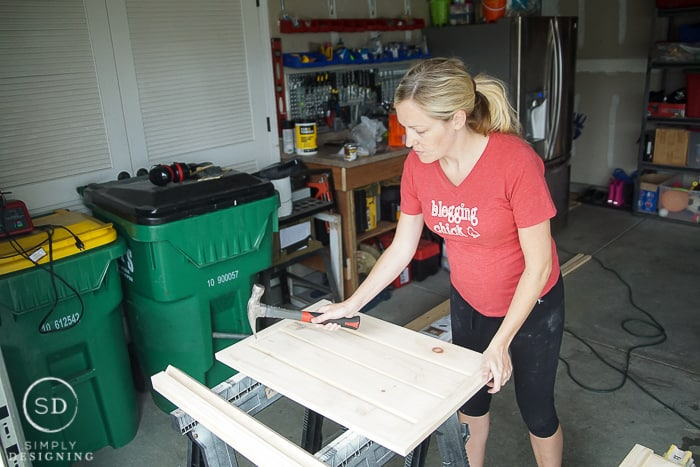 Distressing the DIY Baby Gate with a Hammer