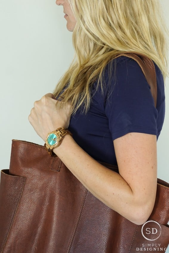 Summer Maternity Clothes Accessories Leather Bag and Wood Band Watch
