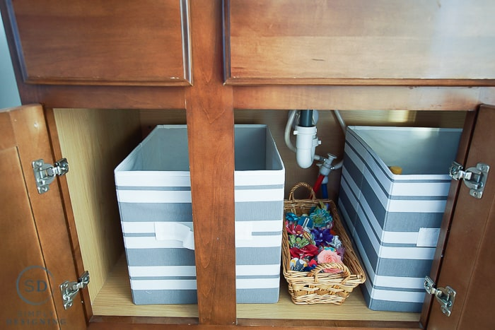 Kids Bathroom Makeover - under cabinet organization