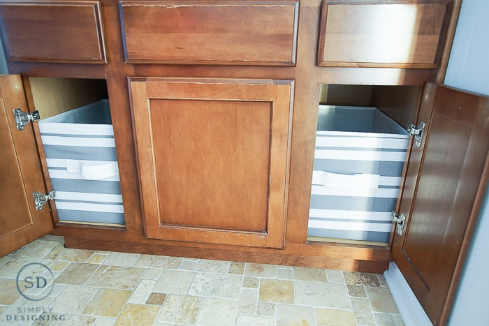 Kids Bathroom Makeover - under cabinets