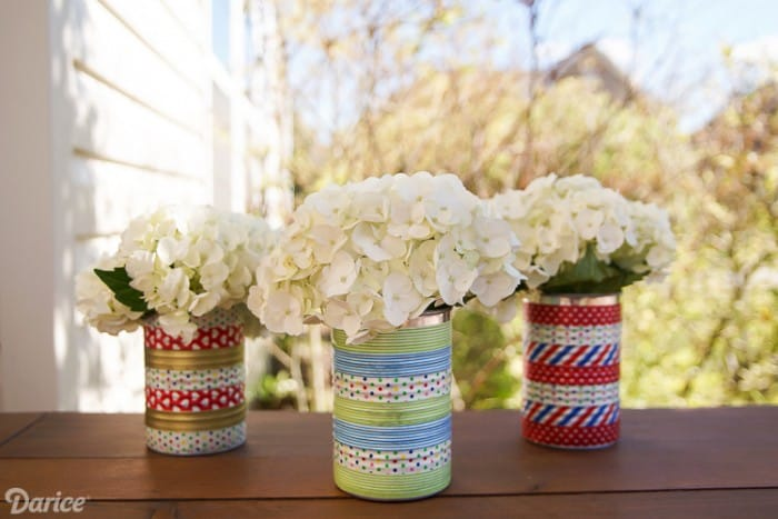Washi Tape Tin Can Vases