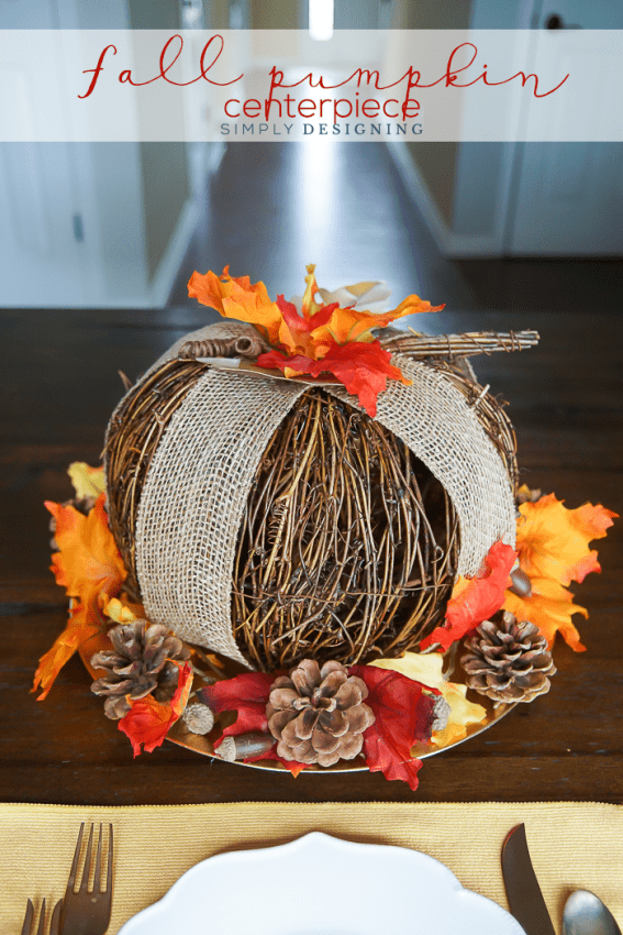 Fall Pumpkin Centerpiece - this centerpiece looks really expensive and elegant but is very simple to make