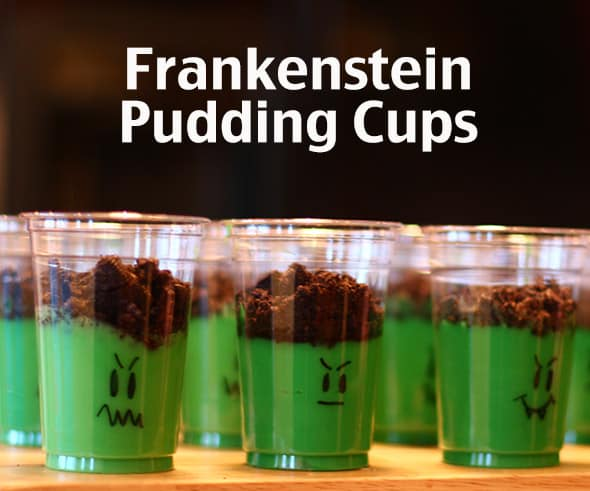 Frankenstein Pudding Cups by The Mom Creative