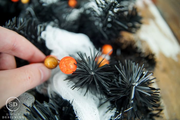 DIY Halloween Wreath - add berries