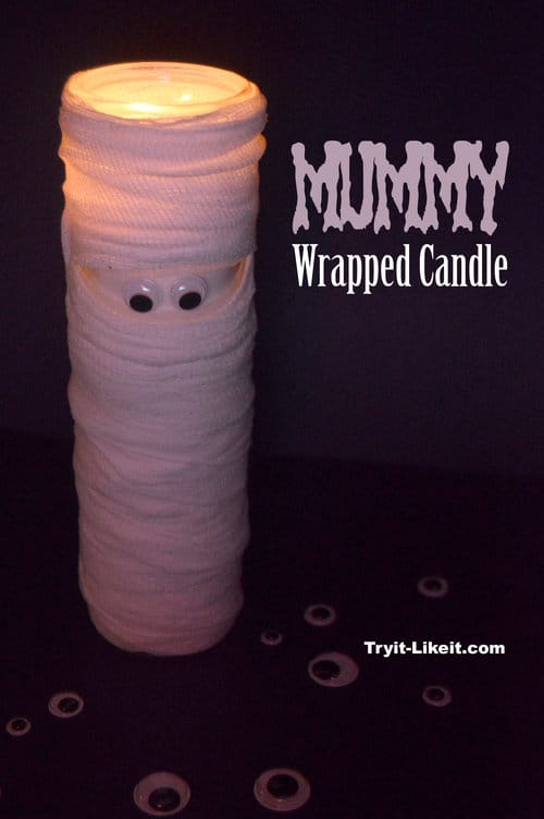 Mummy Wrapped Halloween Candle by Try It Like It