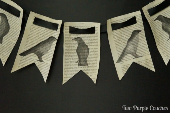 Spooky Raven Book Page Banner by Two Purple Couches