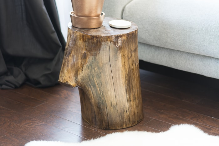 Learn How To Make A Tree Stump Side Table By Staining And Finishing A Stump!