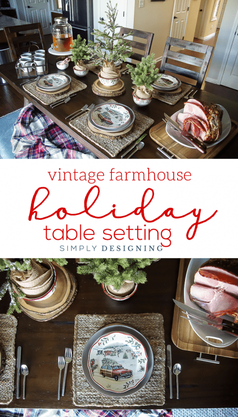Vintage Farmhouse Holiday Table Setting - such a beautiful way to celebrate Christmas & Vintage Farmhouse Holiday Table Setting