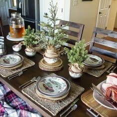 Vintage Farmhouse Holiday Table Setting
