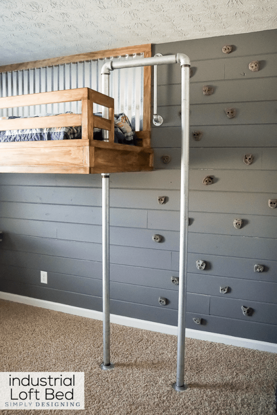 Industrial Loft Bed With Rock Wall And Fireman S Pole