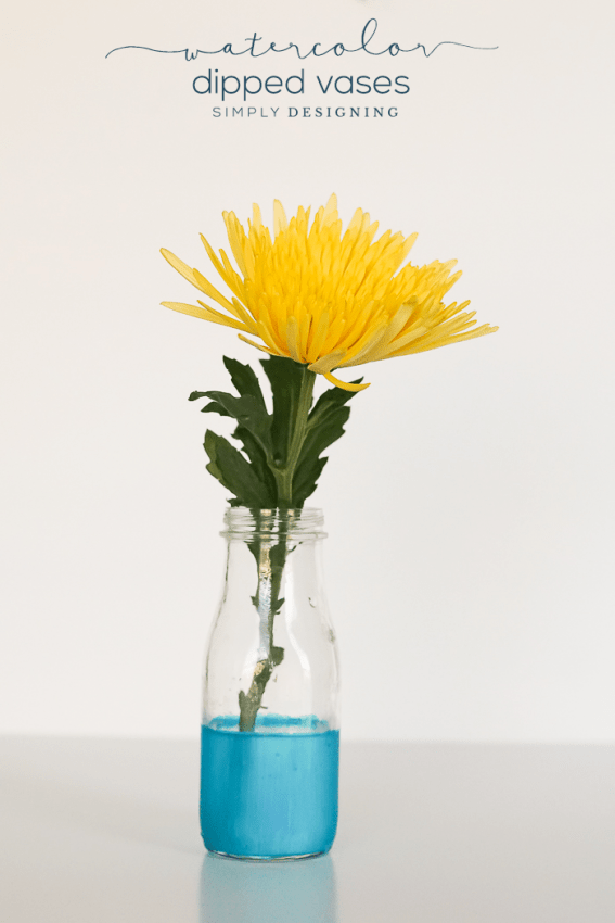 DIY Watercolor Dipped Vases - these vases look like they are dipped in watercolors but are so easy to create with just a few supplies