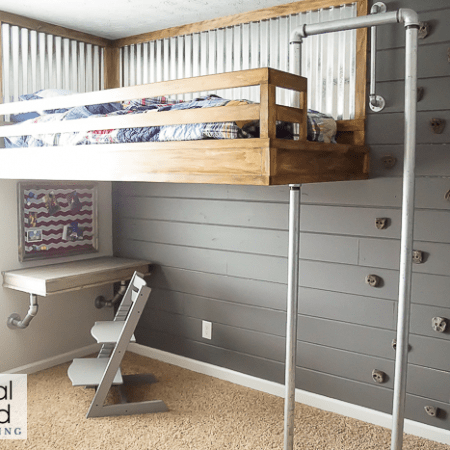 Industrial Loft Bed with Rock Wall and Fireman's Pole