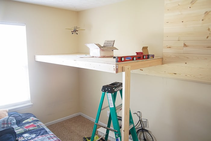 Loft Bed With Shiplap Style Wall